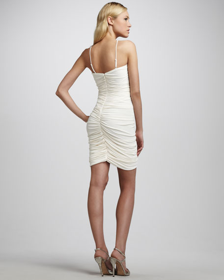 Ruched Cocktail Dress, Chalk