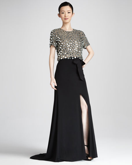 Sequined Combo Gown
