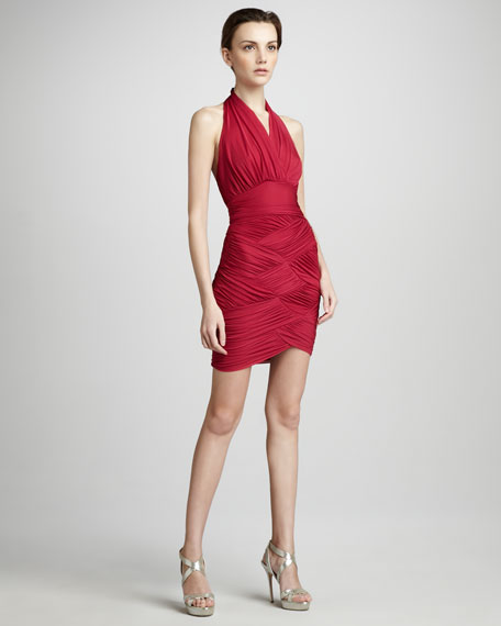 Woven Ruched Halter Dress