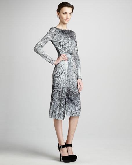 Pleated Printed Dress