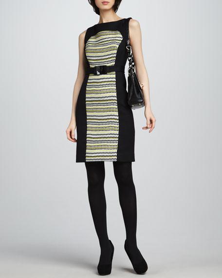 Fiona Pattern-Panel Dress, Chartreuse