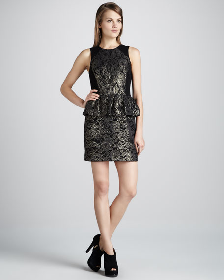 Metallic Lace Peplum Dress