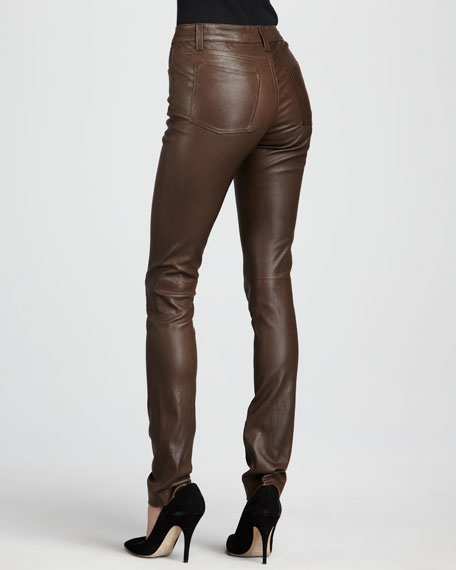 Textured Leather Jeans, Olive