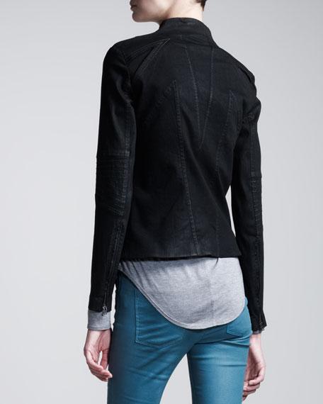 High-Gloss Denim Jacket