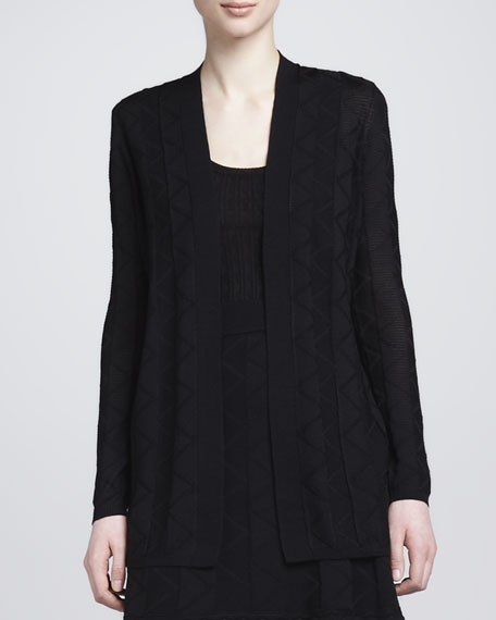 Zigzag Knit Long Cardigan, Black