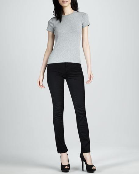 Stilt Sateen Skinny Jeans, Super Black