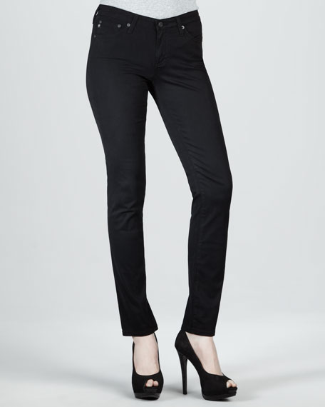 Stilt Sateen Skinny Jeans, Super Black