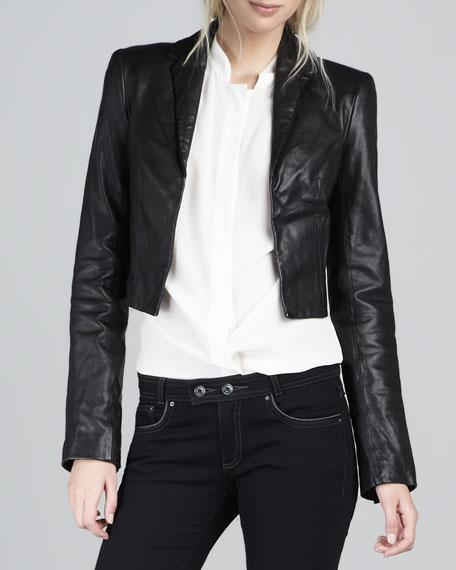 Bobby Cropped Leather Jacket, Black
