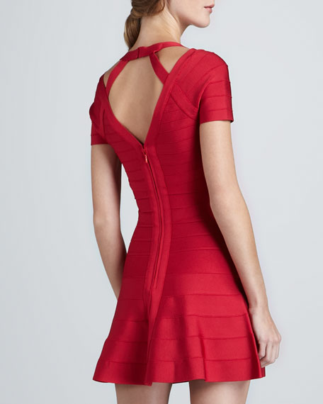 Flare-Skirt Cutout Bandage Dress