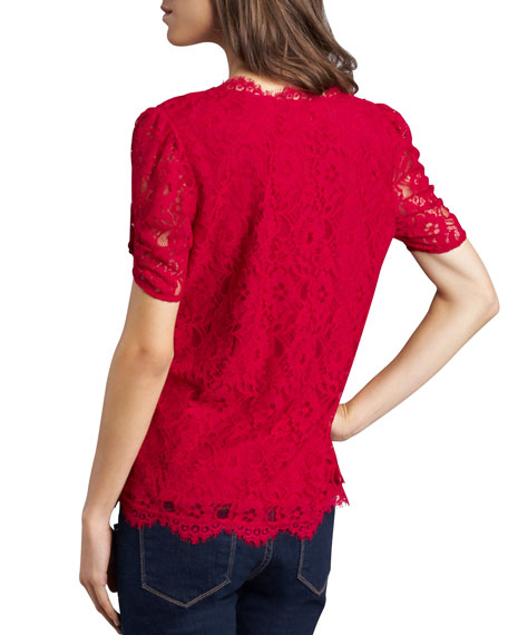 Brianda Lace Top, Red