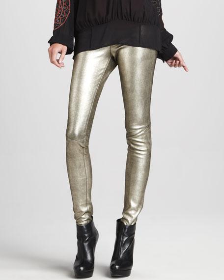 Metallic Leather Leggings