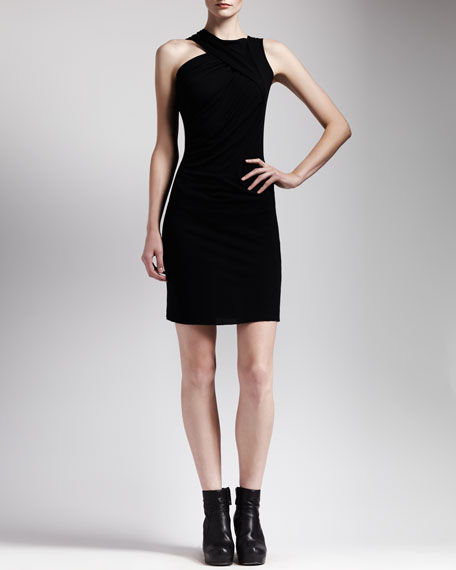 Asymmetric Draped Jersey Dress