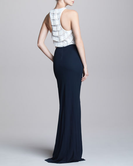 Two-Tone Fringe-Top Gown