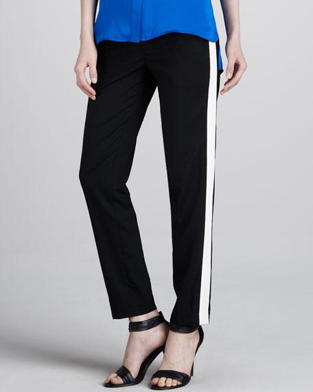 Contrast-Stripe Pants, Black