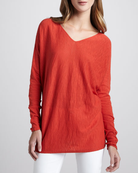 V-Neck Slub Cotton Sweater