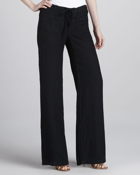 Linen Beach Pants, Black