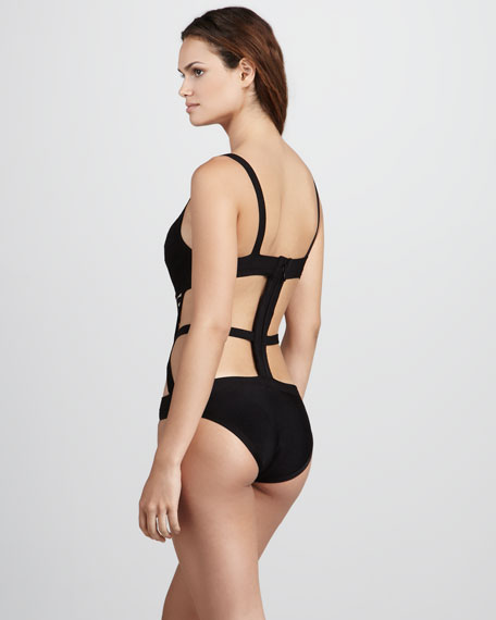 Grid-Front Monokini Swimsuit