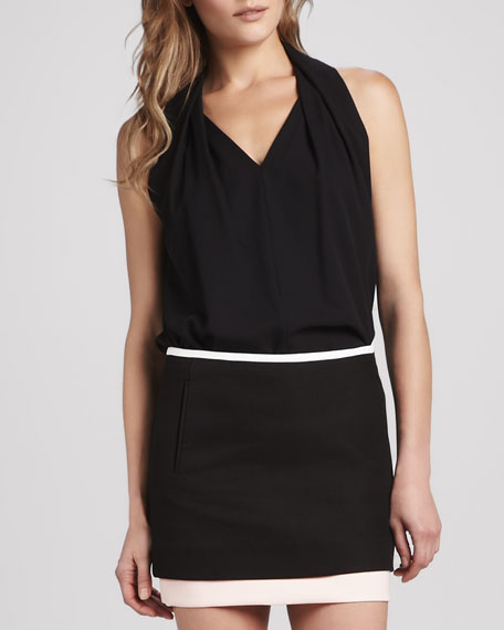 Reagan Draped Sleeveless Top, Black