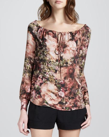 Floral-Print Drawstring Blouse