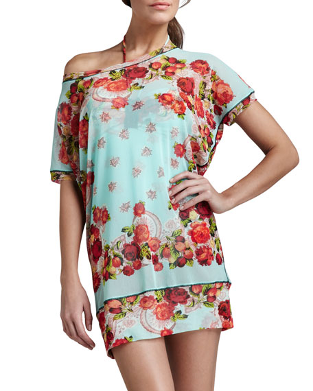 Floral-Print Coverup Tunic