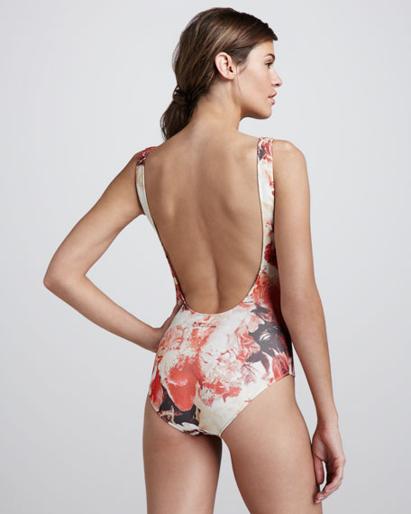 Floral-Print Basic One-Piece Swimsuit