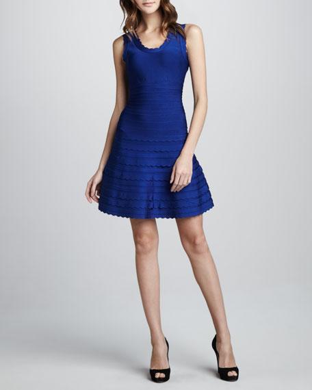 Scallop-Trim A-Line Bandage Dress