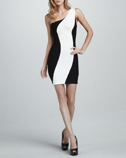 Herve Leger Two-Tone One-Shoulder Dress
