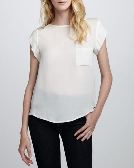 Rancher Short-Sleeve Blouse, Porcelain
