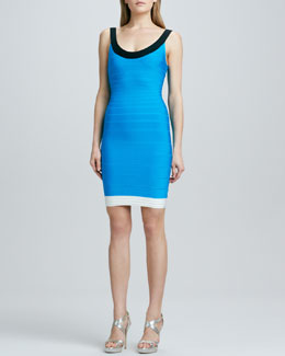 Herve Leger Basic Colorblock Bandage Dress