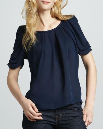 Eleanor Gathered Silk Blouse