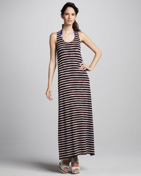 Striped/Floral Reversible Maxi Dress