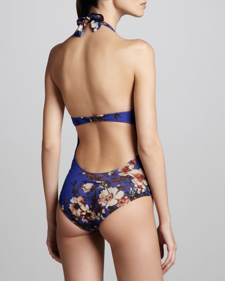 Floral-Print Halter One-Piece Swimsuit