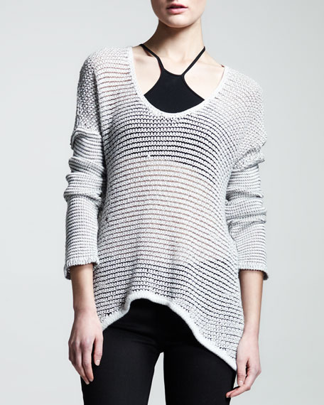 Brushed Sheer-Knit Pullover