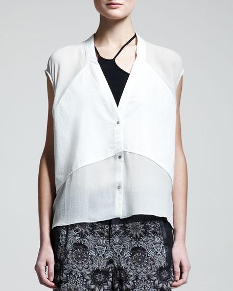 Fissure Cap-Sleeve Silk Top