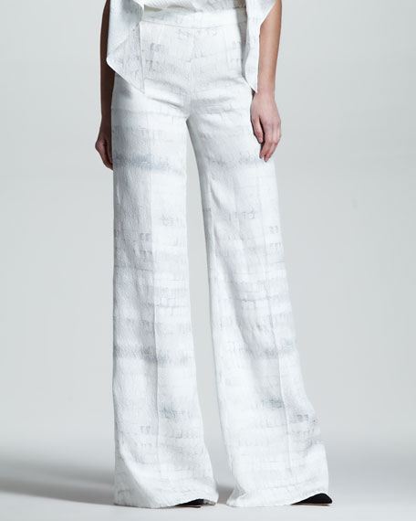 Croc-Print Cloque Trousers