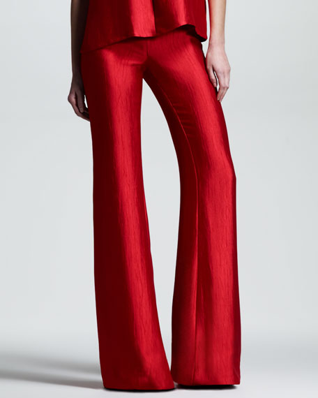 Crushed Satin Flare Pants