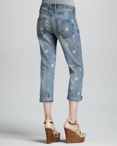 The Boyfriend Rose Gold Star Cropped Jeans