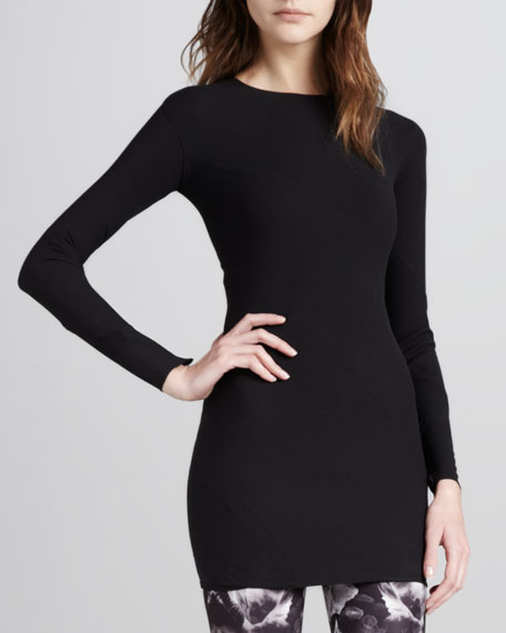 Fitted Long-Sleeve Tunic, Black