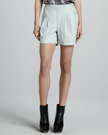 Panther Pleated Leather Shorts