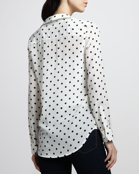 Adele Polka-Dot Silk Blouse