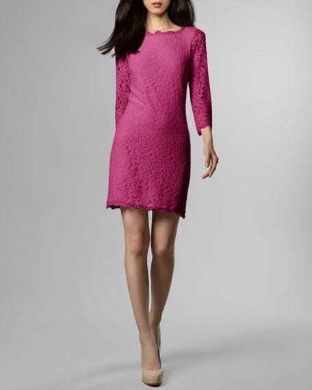 Zarita Lace Shift Dress, Gardenia