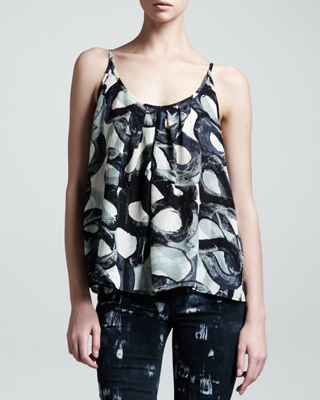 Sapphire Swirl-Print Silk Tank