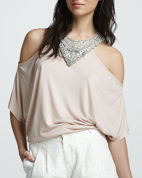 Embellished Cold-Shoulder Top