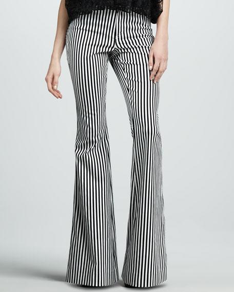 Striped Bell-Bottom Pants