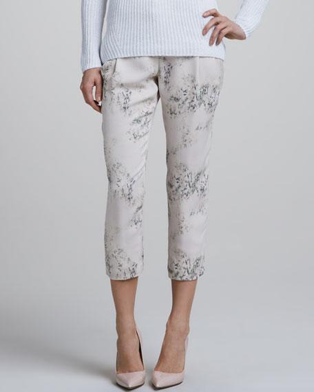 Blossom-Print Cropped Pants