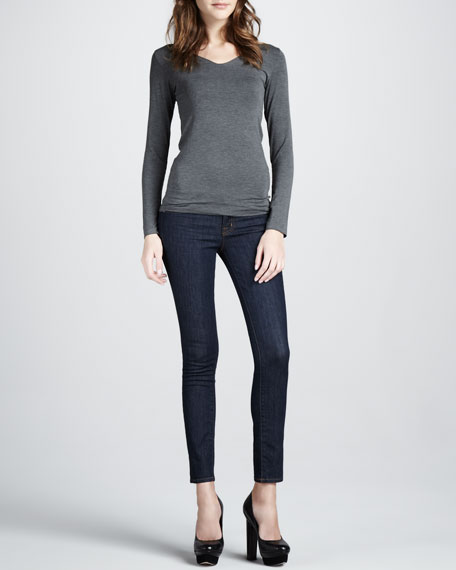 Mid-Rise Skinny Ankle Jeans, Pure