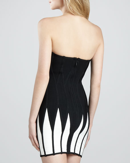 Two-Tone Strapless Bandage Dress