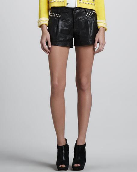 Boom Boom Leather Studded Shorts