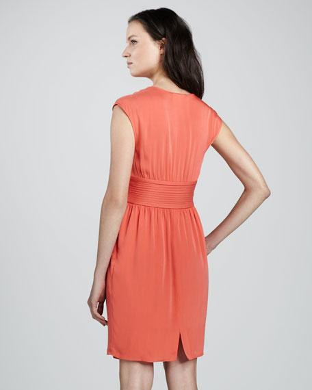 Cowl-Neck Belted Dress