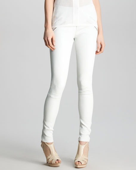 Claudette Slim Leather Pants, White